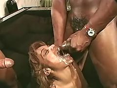 Ebony with killer big bust is poked