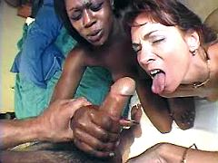 White and ebony milfs catching jizz